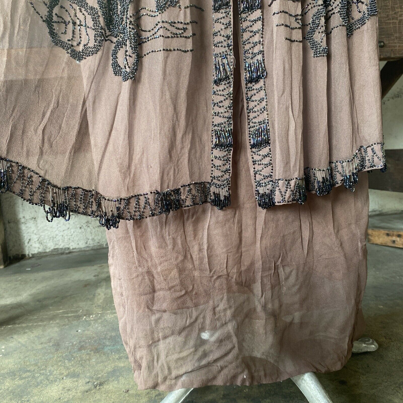 Antique 1910s Brown Silk Chiffon Tiered Beaded Dr… - image 12