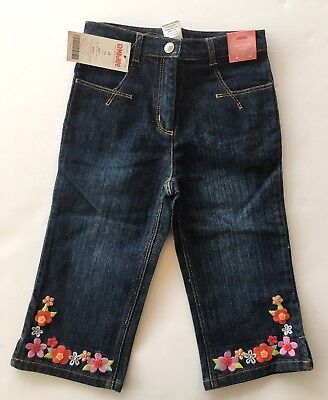 GYMBOREE FLOWER SHOWERS DENIM FROG POCKET CAPRI JEANS PANTS 3 6 12 18 3 4 NWT