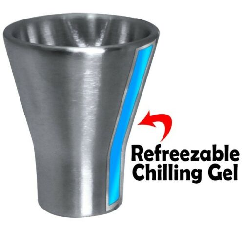 New Barbuzzo Chill Shots Shot Glass 2 Refreezable Chilling Gel Stainless Steel
