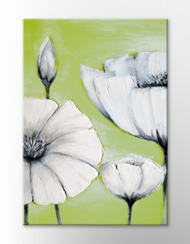 LARGE FRAMED CANVAS WALL ART PICTURE JAPANESE ZEN GREEN WHITE FLOWERS NEW PRINT