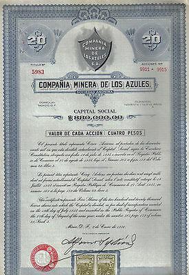 Mexico 1936 Mining Company Minera los Azules $4 UNCANCELLED 1 share coupons