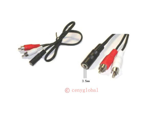 3.5 mm stereo Audio female jack to 2 RCA male Socket to Headphone Y Cable Cord