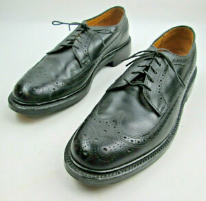 Keith-Highlander-Black-9-5-C-Narrow-Longwing-Broque-Shoes-Vintage-Made-in-USA