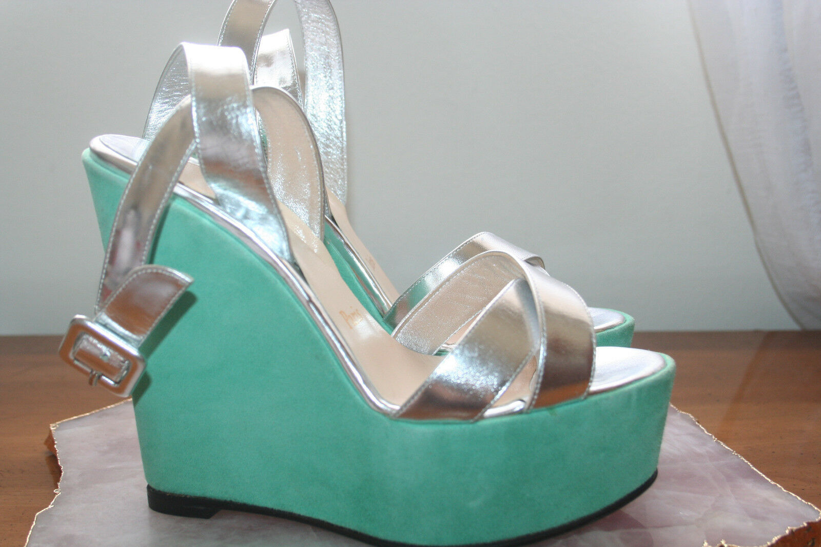Christian Louboutin Teal Silver Suede Leather Platform Wedge Sandals    Sz 36.5