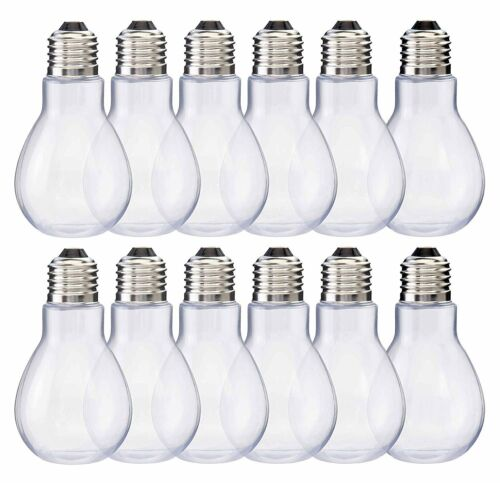 Home Collectives Fillable Light Bulb Containers Clear Plastic Candy Jars,...