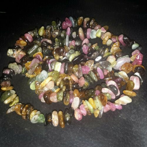 "Free post OZ Seller 5-8x3-8mm Natural Drilled Tourmaline Chips 32/""strand"