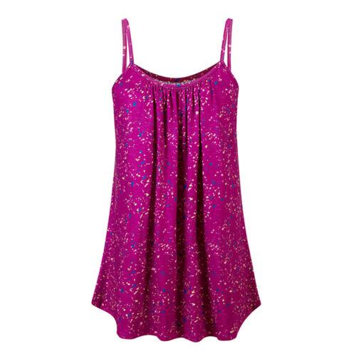 Plus Size Womens Summer Print Cami Mini Dress Boho Sleeveless Long Vest Tops Tee