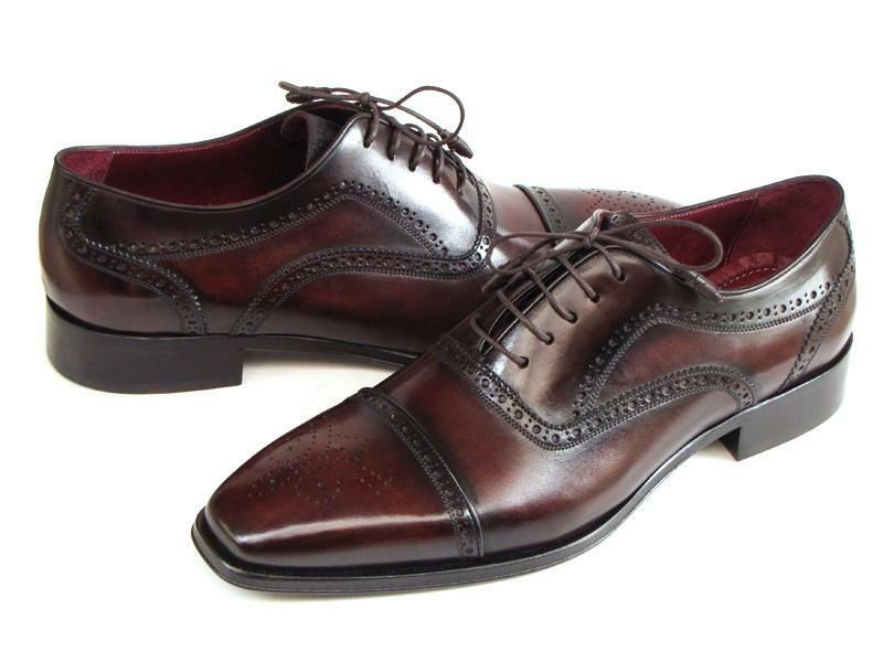 Paul Parkman Men's Captoe Oxfords Bordeaux & Marroneee Hand-Painted (ID 024-BRWBRD)
