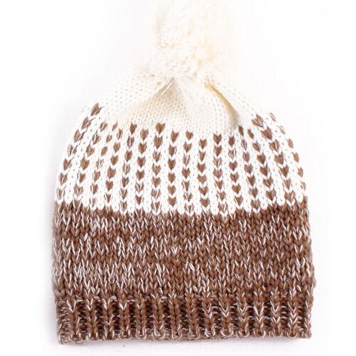 2PCS Mom/&Baby Women Newborn Toddler Kids Girl Boy Winter Knitted Hats Beanie Cap