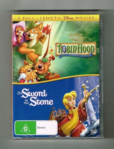 1 of 1 - Robin Hood / The Sword In The Stone (2-Movie Collection) Dvd Disney New & Sealed