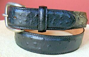 "TONY LAMA Men's 1373L Sz 36 Black Ostrich Print Leather 1⅜"" Dress Belt Xlnt"