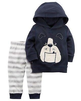 New Carter/'s 3 Piece Set Hoodie Robot Top /& Pants NWT 18m 24m Boys Blue
