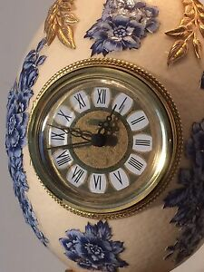 Ostrich-Egg-Hand-Decorated-Crafted-Clock-Oriental-Design-Unique-Rare-Collectable