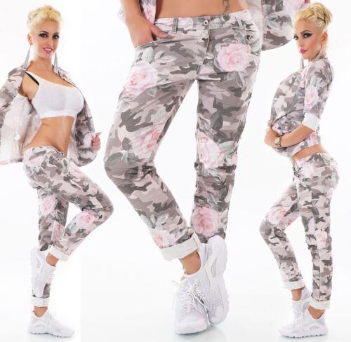 Elasticizzato Fiori Italia Pantaloni Mimetico Blazer giacca O Donna Jeans Rose xZ4wZ1qpY