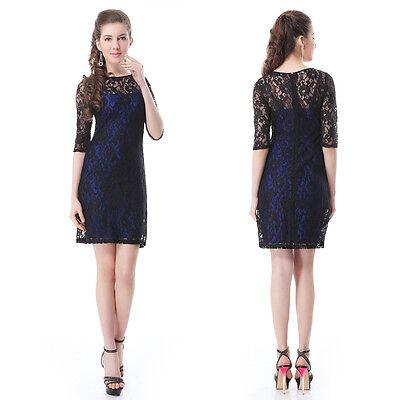 Sexy Elegant Ladies Lace Short Cocktail Black Party Dresses Casual Cheap 03790
