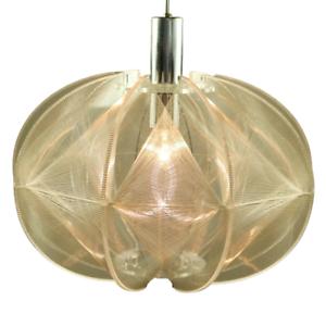 Faden-Pendel-Leuchte-XL-Kunststoff-Transparent-Haenge-Lampe-Vintage-70er-Jahre