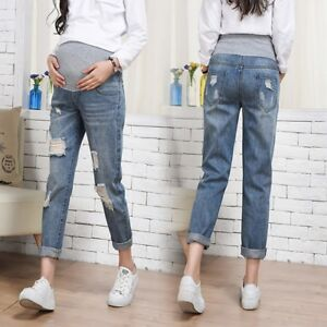 a650b6f2f45b5 Image is loading Pregnant-Woman-Ripped-Jeans-Maternity-Pants-Trousers- Nursing-