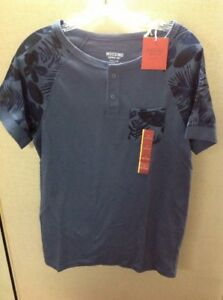 7ee7fb20 Details about NEW Mens Mossimo Supply Co Blue Hawaii Floral Henley Shirt  Size Small