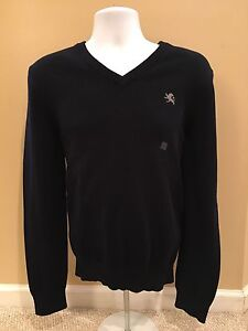 Details about NEW Mens V Neck Sweaters Express Black Junior Size Large
