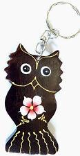 Porte clé clé Chouette Hibou Oiseau Bois Artisanal wooden key holder cle owl