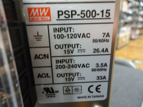 PSP-500-15 Meanwell 500 Watt PFC Enclosed AC//DC BRAND NEW!