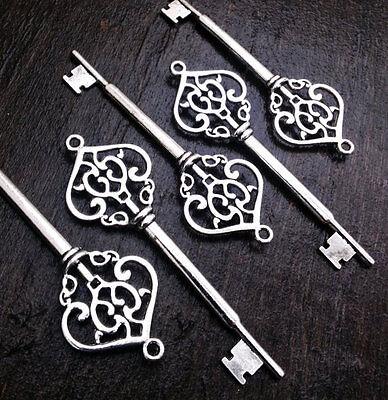 Skeleton Keys Steampunk Large Ornate 82mm 50pcs Antiqued Silver Wedding Bulk Lot