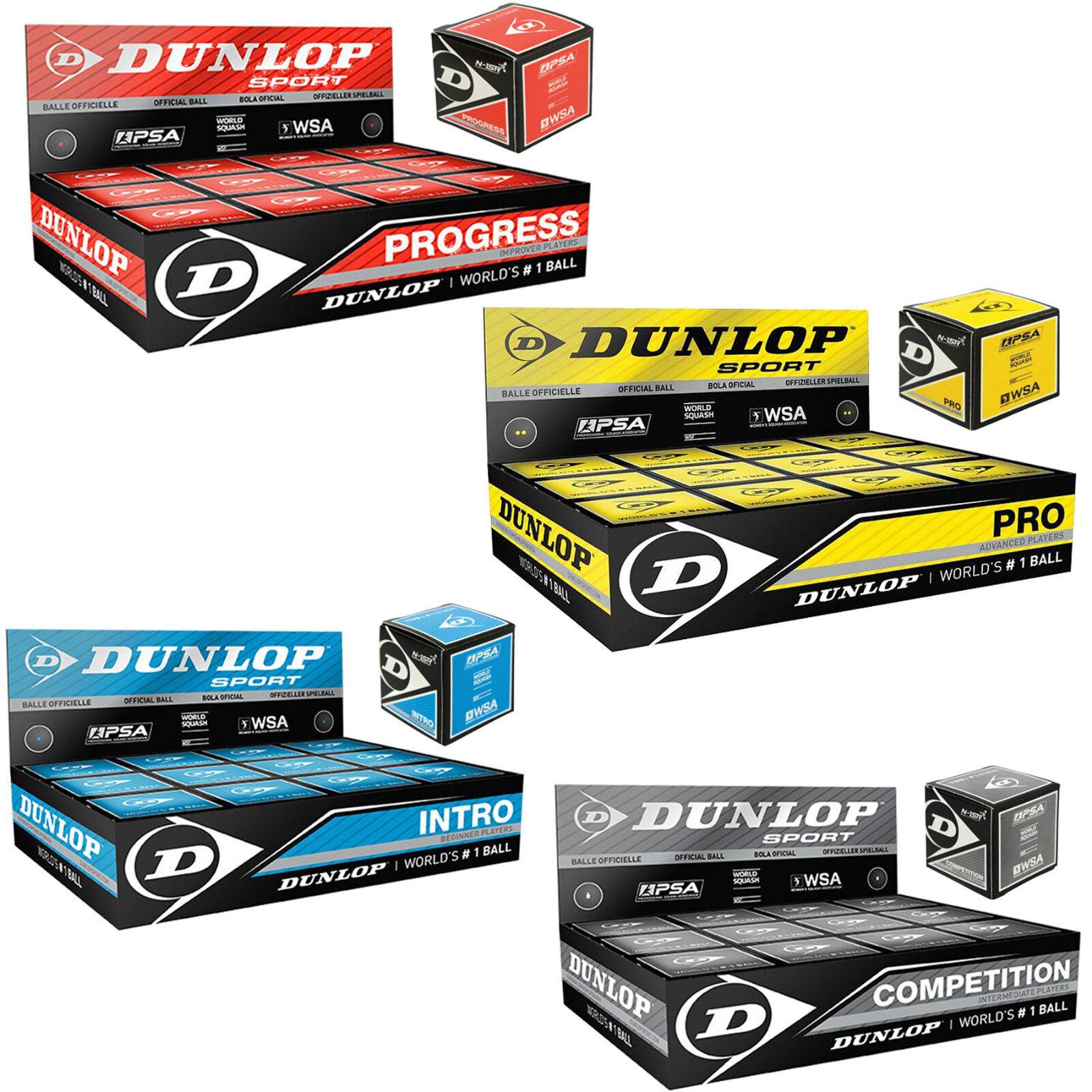 Dunlop Squash Palla tacita Squash Palla Ball Ball Palla Blu Rosso Giallo Grigio Pro Intro Nuovo 0f72e5