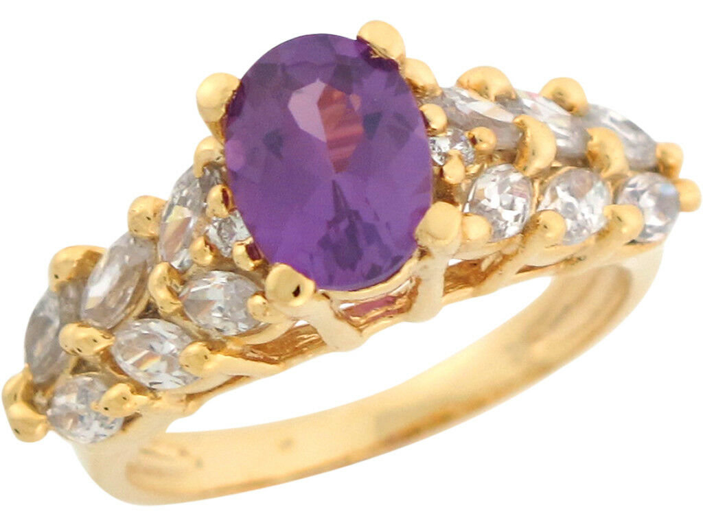 10k or 14k Yellow gold Oval Cut Simulated Alexandrite White CZ Ladies Ring