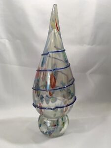 Italian-Glass-Sculpture-12-034-Large-Paperweight-Teardrop-Murano-Millefiori-Blown