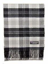 100% CASHMERE Scarf Black Gray Check Plaid Tartan Soft SCOTLAND Wool Women ZS64