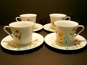 Imperial By W. Dalton Just Spring Cups & Saucers Orange Yellow Blue--Lot of 4!!