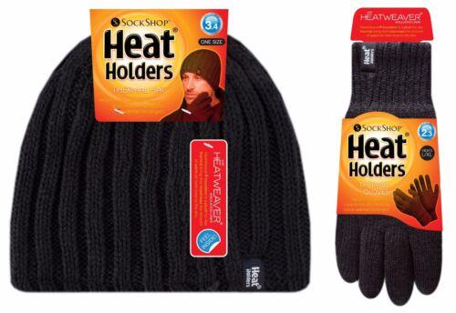 Heat Holders-Uomo in Pile caldo isolato Thermal a Coste Invernali Cappello E Guanti Set