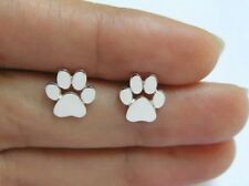 Cute Cat Dog Animal Paw Print Silver Zinc Stud Earrings