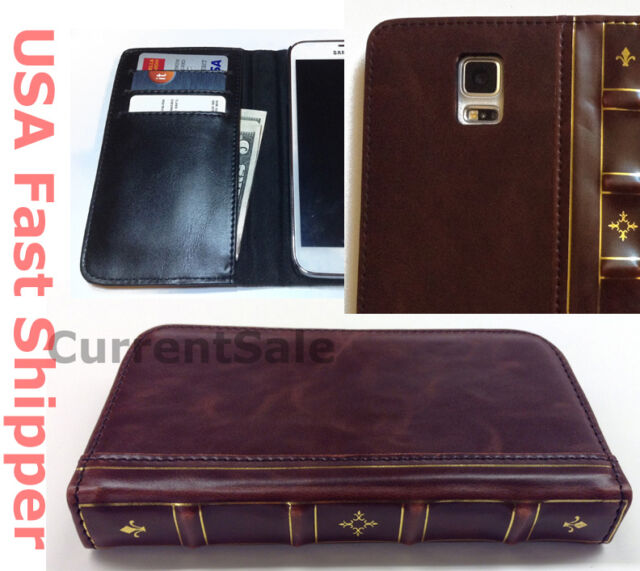 Vintage Antique Old BOOK Leather Case Folio Cover Wallet Samsung Galaxy S 5 S5 V