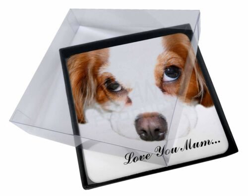 4x Cavalier King Charles 'Love You Mum' Picture Table Coasters Set, ADSKC57lymC