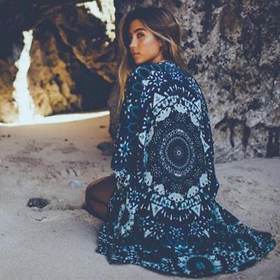 Women Mandala Print Kimono Cardigan Chiffon Coat Tops Blouse Chic Shawl Cover up