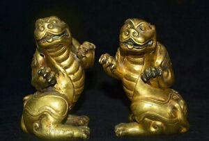 "5 ""Chinois Cuivre 24 K Or Doré Feng Shui Animal Pixiu Bête Statue Paire"