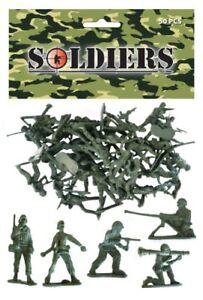 Sac-de-50-Traditionnel-Plastique-Vert-Jouet-Soldats-pour-armee-militaire-guerre-Jeux-UK