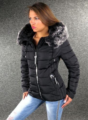 Zazou Winterjacke Schwarz S M L XL XXL Damen Steppjacke Fellkapuze Jacke 1028