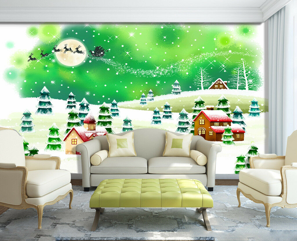 3D House Christmas Wood 5 Wallpaper Murals Wall Print Wallpaper Mural AJ WALL AU