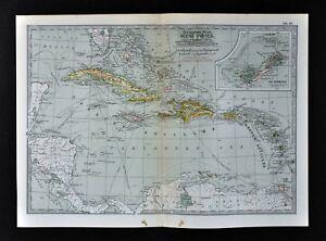 1902 Century Map West Indies Caribbean Cuba Bahamas Jamaica ...