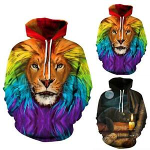 Unisex 3D Couple Graphic Animal Print Hooded Sweatshirt Hoodies Pullover Jumper