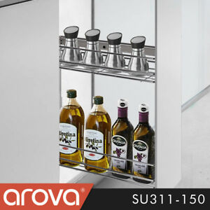 Pull-Out-Spice-Shelf-Pantry-Rack-Kitchen-Under-Bench-Wire-Basket-Narrow-150mm