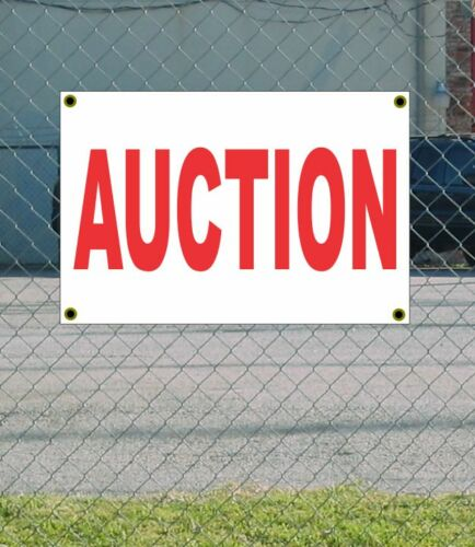 2x3 AUCTION Red /& White Banner Sign NEW