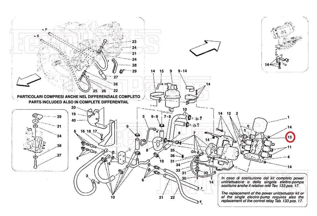 Ferrari F430 Coupe Spyder Scuderia Bolzen für Ende der Takt für Kupplung P