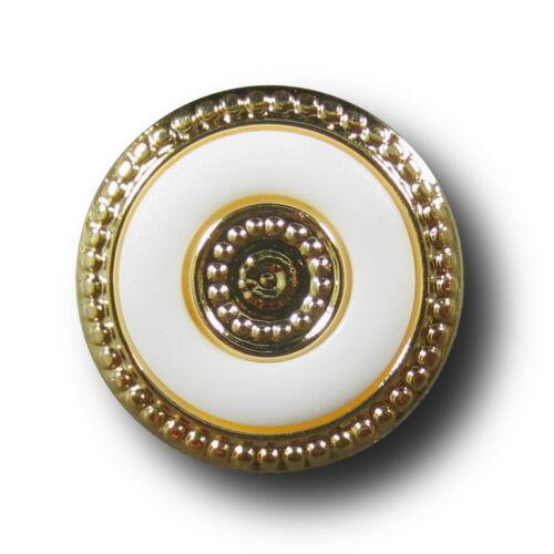 8 stilvolle weiß goldfarb Kunststoff Knöpfe edle Metall Optik 3703gw-20mm