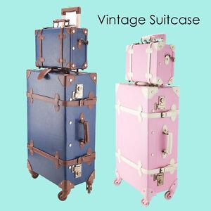 12'' 24'' Vintage Luggage Trolley Suitcase Train Case TSA Lock ...
