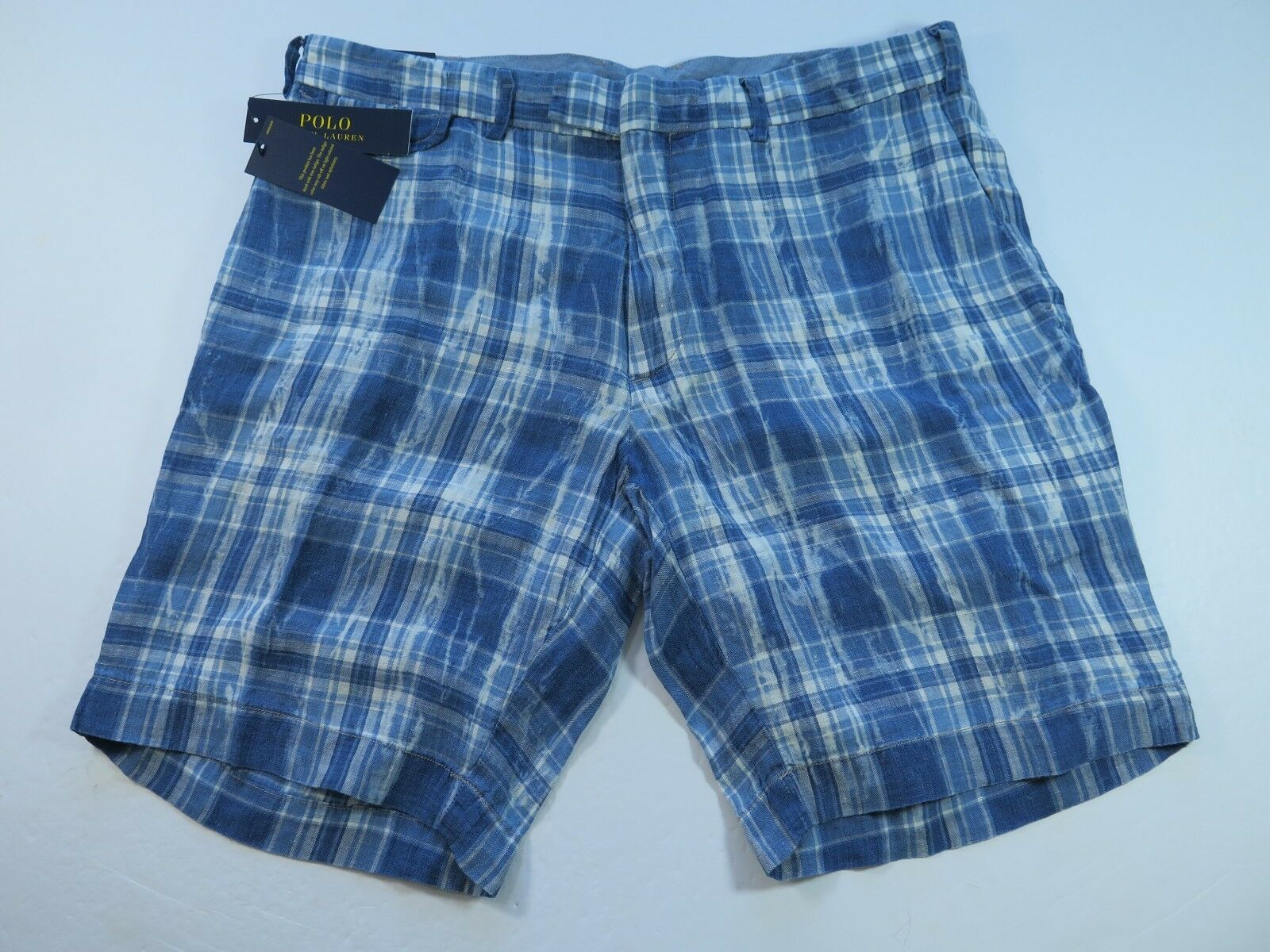4c0f17ff71c5 Recent Polo Ralph bluee Plaids India Madras Shorts Size 38 NWT NEW Linen  Lauren ntvjrn21223-Shorts