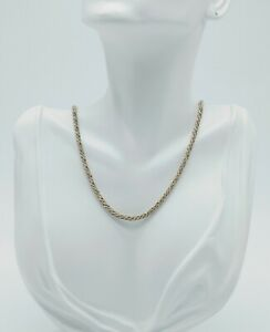 VINTAGE ITALIAN STERLING SILVER GOLD VERMEIL ROPE CHAIN NECKLACE