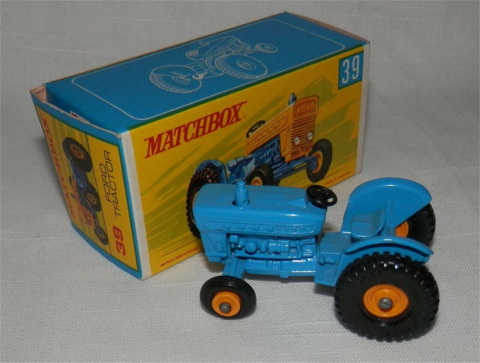ALL blå..1960-talet. Matchlåda Lesney 39 Ford Tractor..MINT I låda